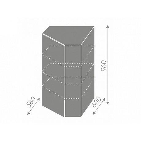 PLATINUM, skříňka horní rohová W4/10 60, korpus: grey, barva: white