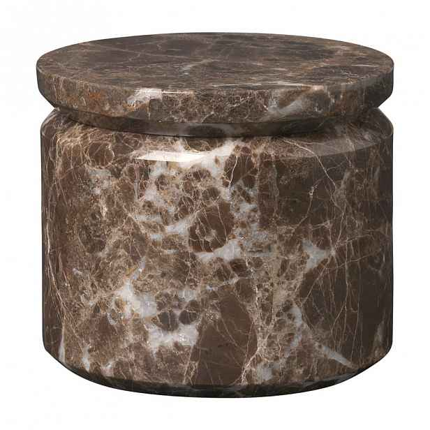 Hnědá mramorová úložná dóza Blomus Marble,ø9cm