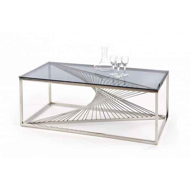 Konferenční stůl INFINITY sklo / stříbrná Halmar