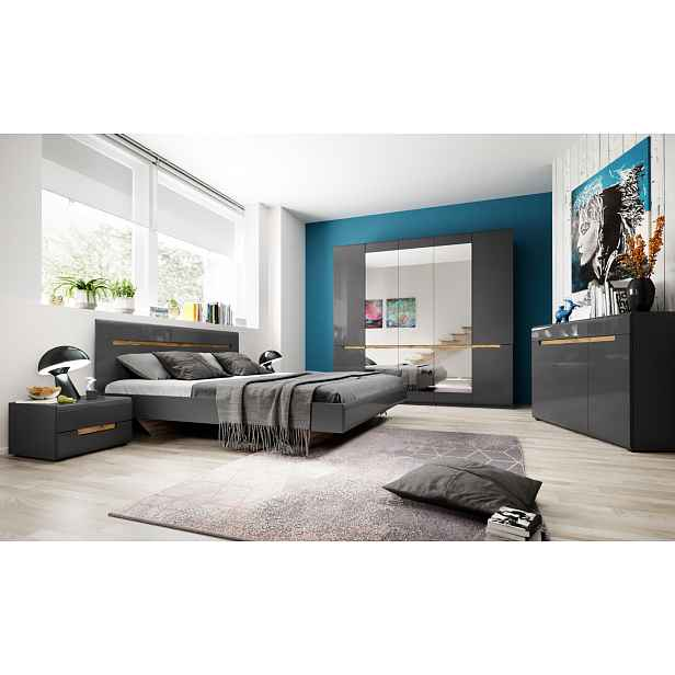Ložnice HEKTOR s postelí 160x200 cm, antracit/antracit lesk