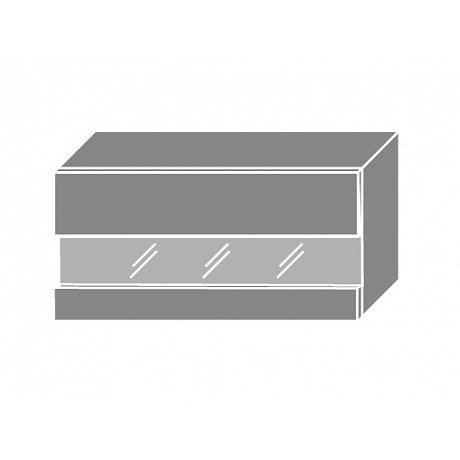SILVER+, skříňka horní prosklená W4bs 80 LAM, korpus: bílý, barva: latte