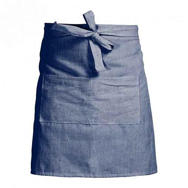 Modrá zástěra s příměsí lnu Linen Couture Delantal Blue