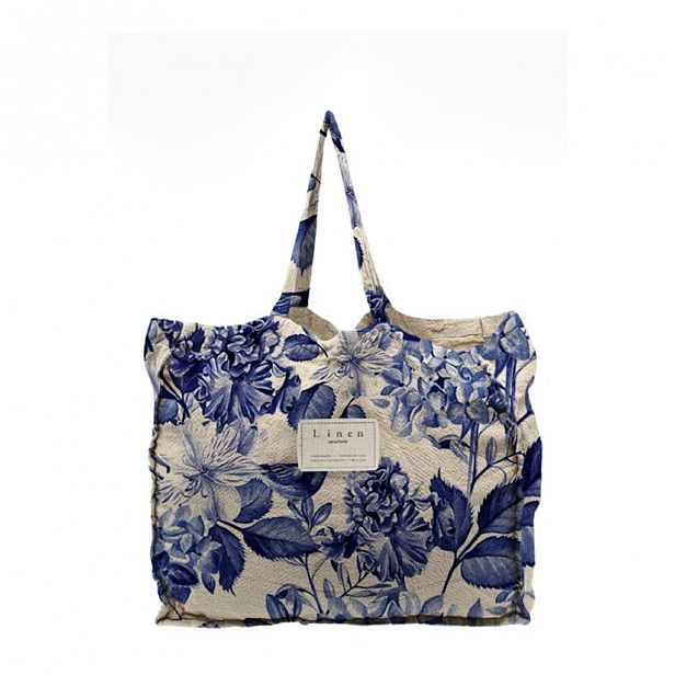 Látková taška Linen Couture Blue Flowers, šířka 50 cm