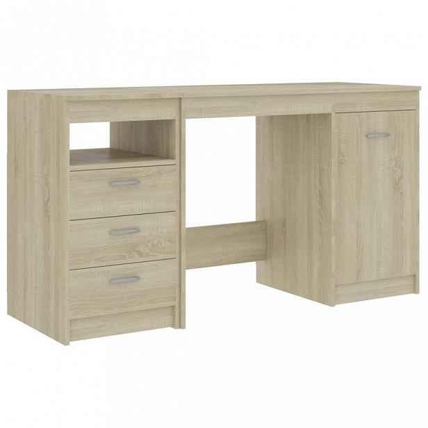 Psací stůl se zásuvkami a skříňkou 140x50 cm Dekorhome Dub sonoma