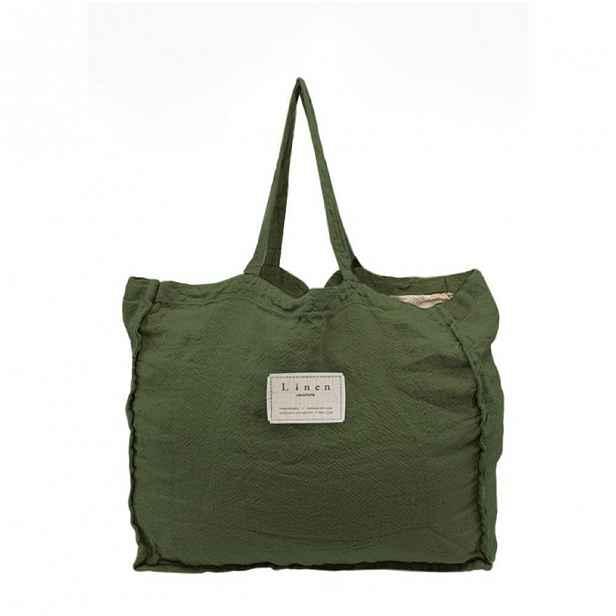 Látková taška Linen Couture Green Moss, šířka 50 cm
