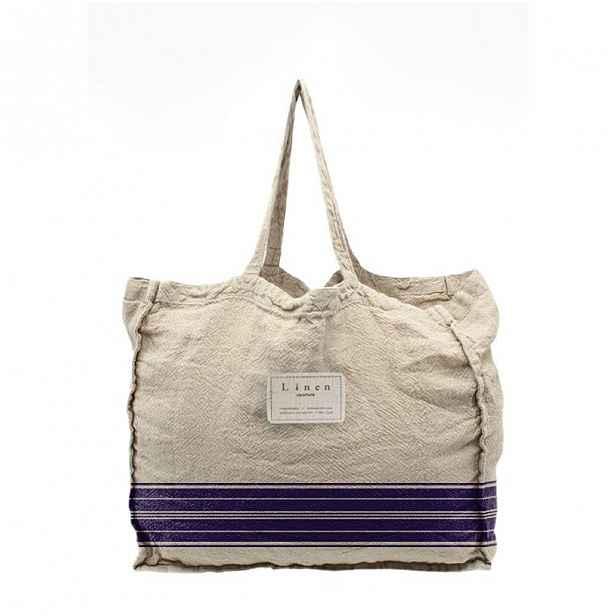 Látková taška Linen Couture Blue Stripes, šířka 50 cm