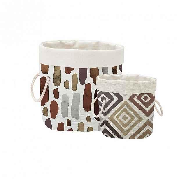 Sada 2 dekorativních košů Linen Couture Watercolor Geometric
