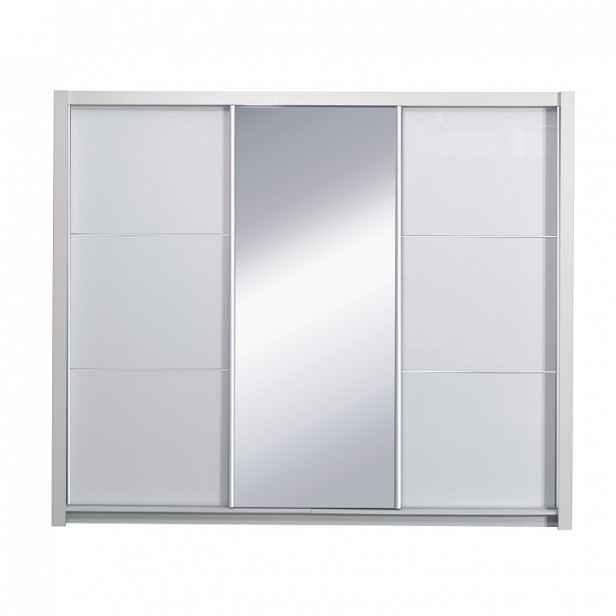 Skříň s posuvnými dveřmi, bílá / vysoký bílý lesk, 208, ASIENA 0000210565 Tempo Kondela