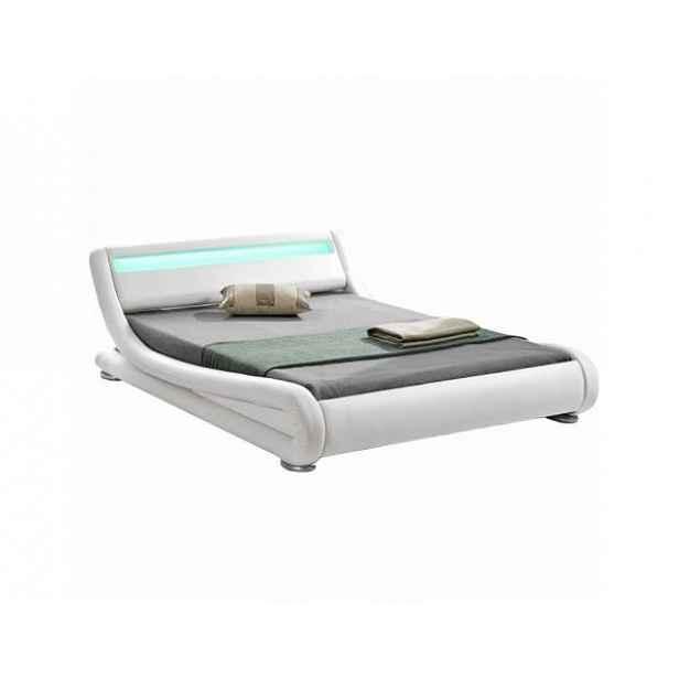 Moderní postel s RGB LED osvětlením FILIDA, bílá, 160x200cm