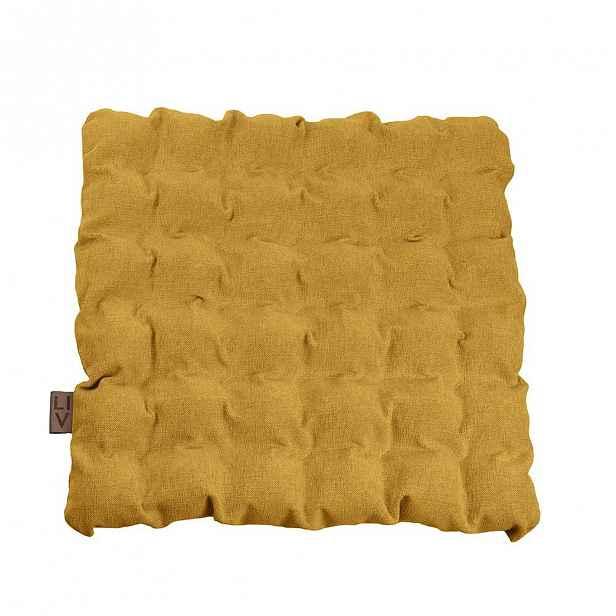 Tmavě žlutý sedací polštářek s masážními míčky, 55x55cm