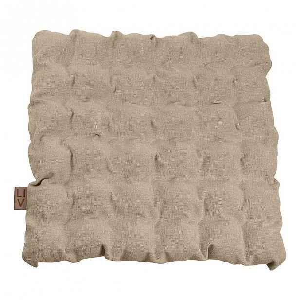 Béžový sedací polštářek s masážními míčky, 55x55cm
