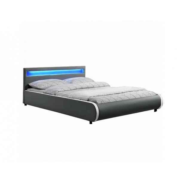 Manželská postel s RGB LED osvětlení DULCEA 160x200 cm, šedá ekokůže