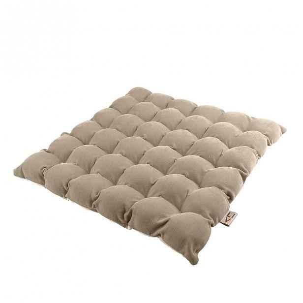 Béžový sedací polštářek s masážními míčky, 65x65cm