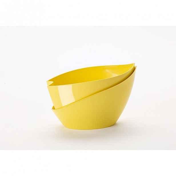 Žlutý samozavlažovací květináč Plastia Doppio