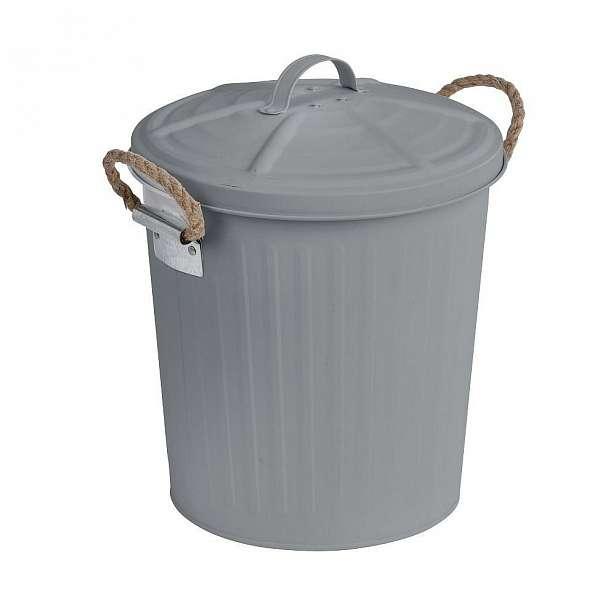Šedý odpadkový koš z nerezové oceli Wenko