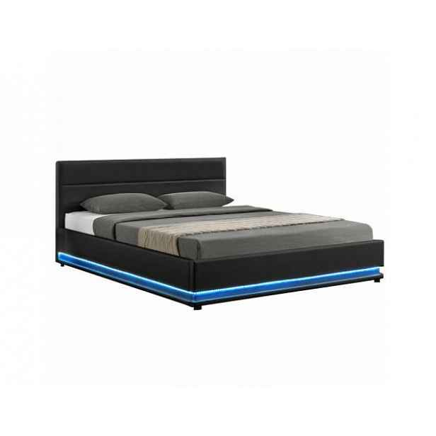 Manželská postel s LED osvětlením, černá, 160x200, BIRGET New