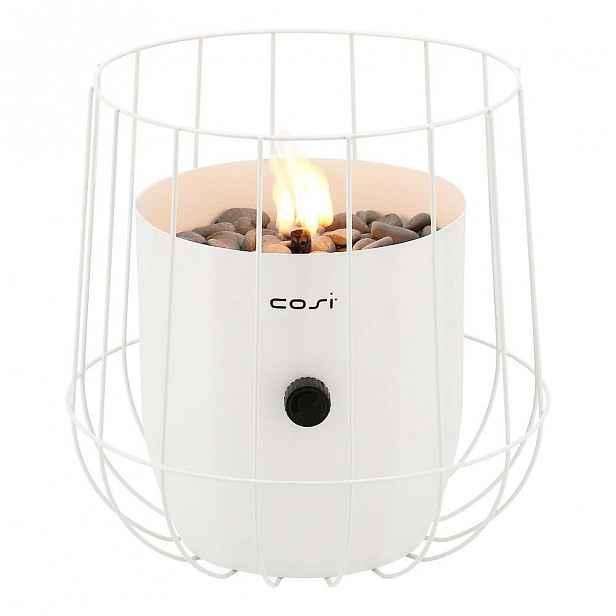 Bílá plynová lampa Cosi Basket, výška 31 cm