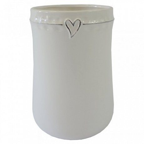 Keramická váza VK45 bílá se srdíčkem (17 cm)