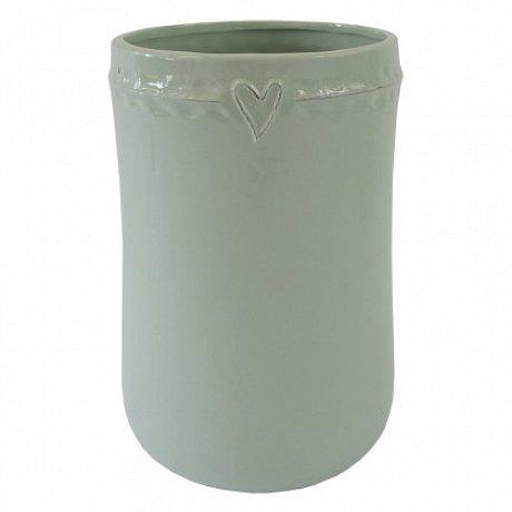 Keramická váza VK48 mátová se srdíčkem (23 cm)