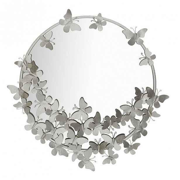 Nástěnné zrcadlo ve stříbrné barvě Mauro Ferretti Round Silver, ø 74 cm
