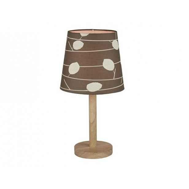 Stylová stolní lampa QENNY TYP 6, dřevo / látka vzor listy
