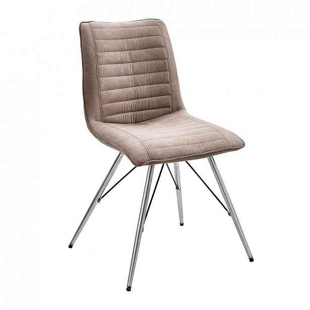 Xora Židle, Šedohnědá, Barvy Nerez Oceli - Jídelní židle - 002731000301