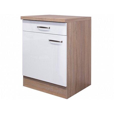 Dolní kuchyňská skříňka Valero US60, dub sonoma/bílý lesk, šířka 60 cm
