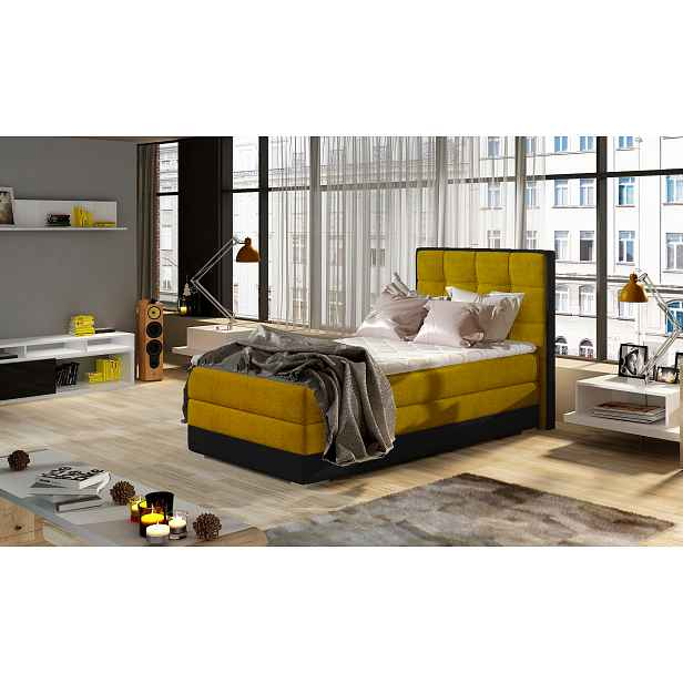 Moderní box spring postel Adria 90x200, žlutá Roh: Orientace rohu Pravý roh HELCEL