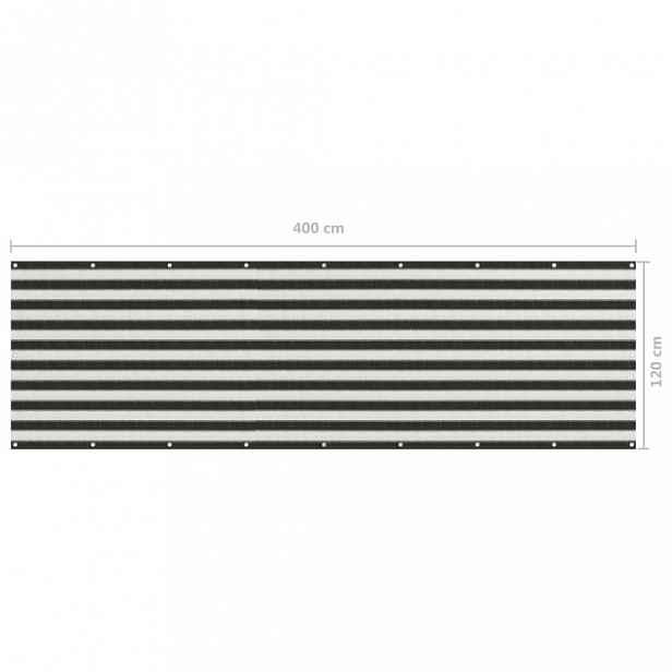 Balkónová zástěna HDPE antracit / bílá 120x400 cm