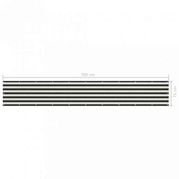 Balkónová zástěna HDPE antracit / bílá 75x500 cm