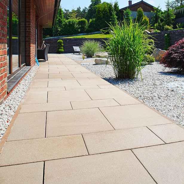 Betonová terasová dlažba BEST, povrch tryskaný, barva tagolo, 40×400×400 mm