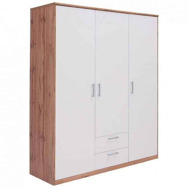 Xora Šatní Skříň, Bílá, Barvy Dubu - Skříně s otočnými dveřmi - 000017003337