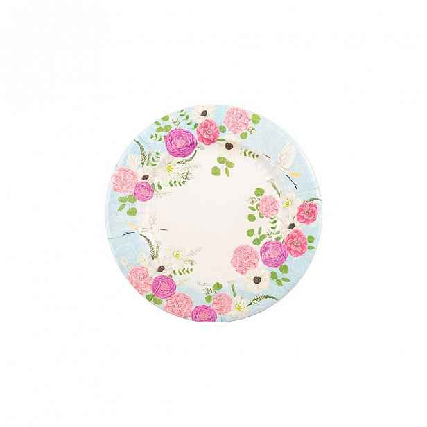 Sada 8 papírových talířů GiviItalia Secret Garden, ⌀ 27 cm