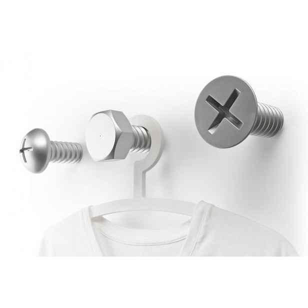Nástěnné věšáky  QUALY Screw Collection, stříbrné