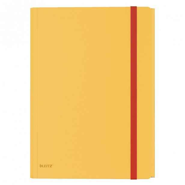 Žluté kancelářské desky s 3 chlopněmi Leitz Cosy, A4