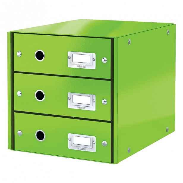 Zelený box se 3 zásuvkami Leitz Office, 36 x 29 x 28 cm