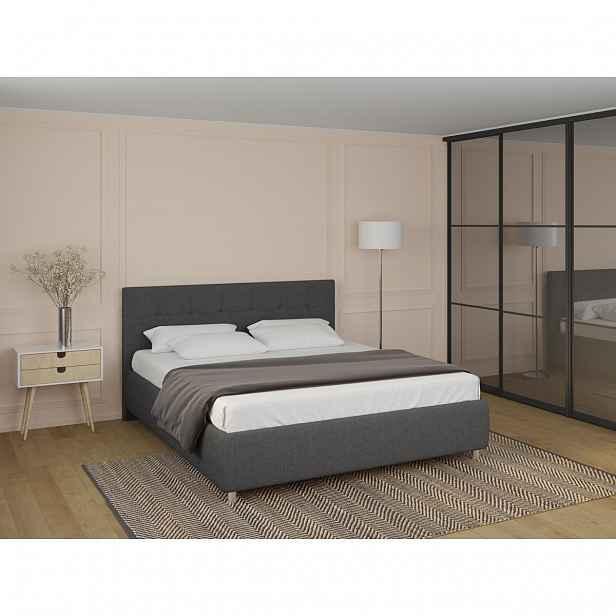 Elegantní čalouněná postel BOSTON Frame 160x200 cm v barvě Tetra Steel