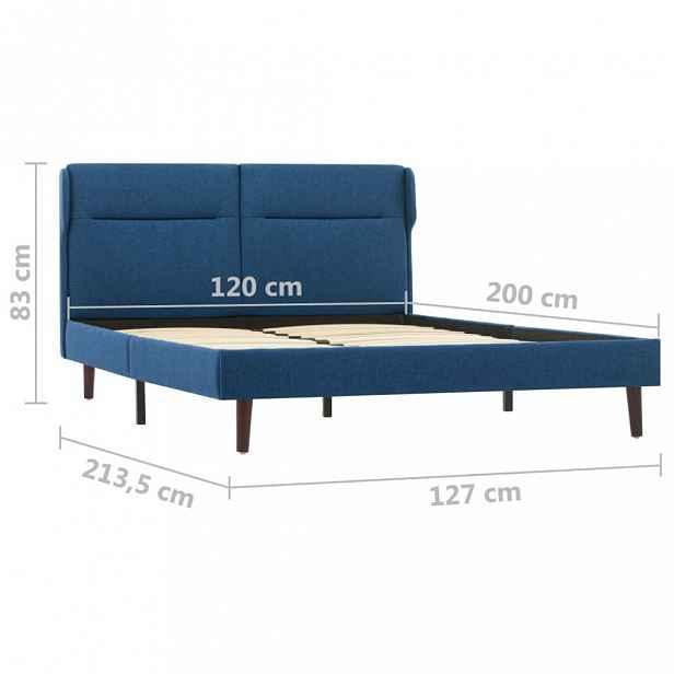Postel modrá látka Dekorhome 120 x 200 cm