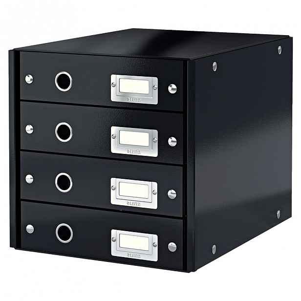 Černý box se 4 zásuvkami Leitz Office, délka 36 cm