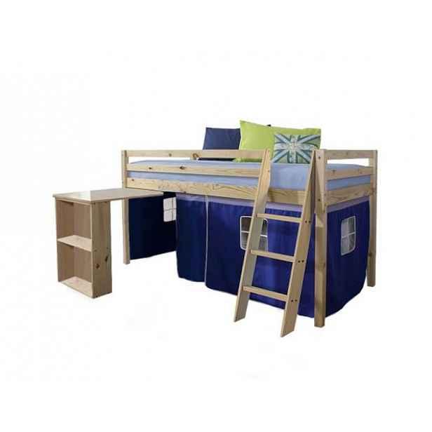 Postel s PC stolem ALZENA, borovicové dřevo / modrá, 90x200 cm