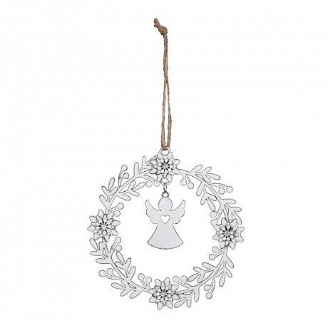 Bílá vánoční ozdoba ve tvaru věnce s andělem Ego Dekor
