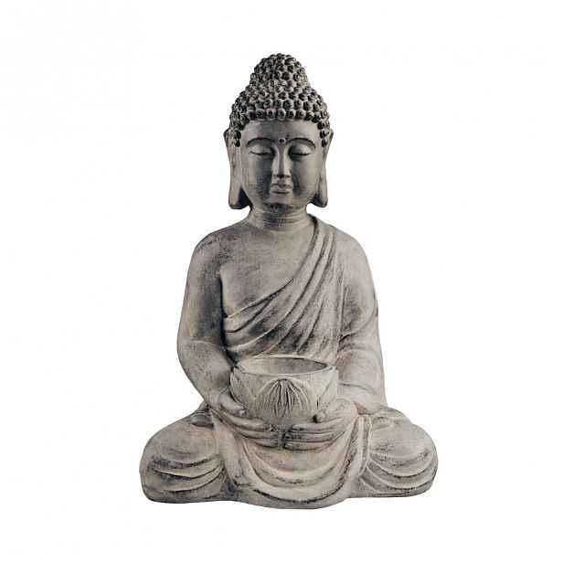 Butlers BUDDHA Socha sedícího Buddhy s táckem na svíčku