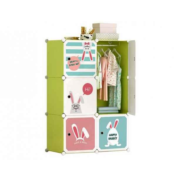 Dětská skříňka TEKIN, zelená/dětský vzor