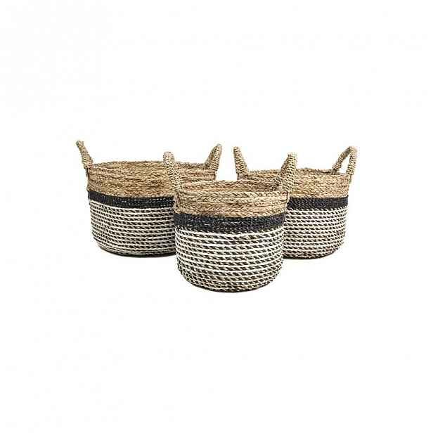 Sada 3 úložných košíků HSM collection Raffia Natural Gris