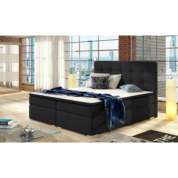 Moderní box spring postel Inter 180x200, černá HELCEL