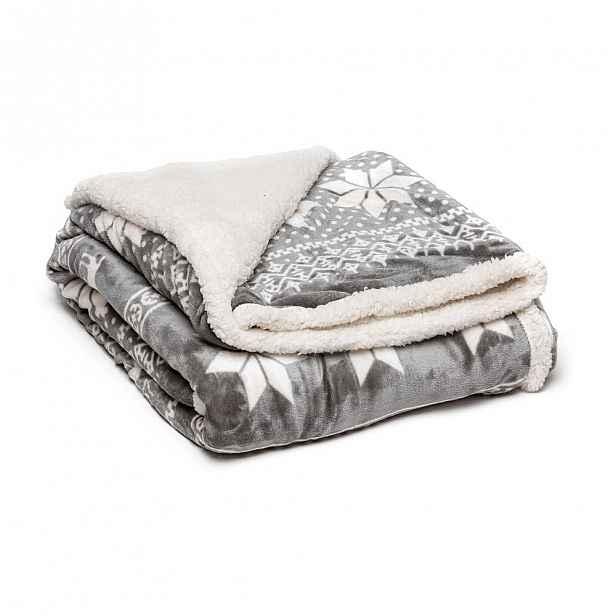 Šedá mikroplyšová deka My House Winter, 150 x 200 cm