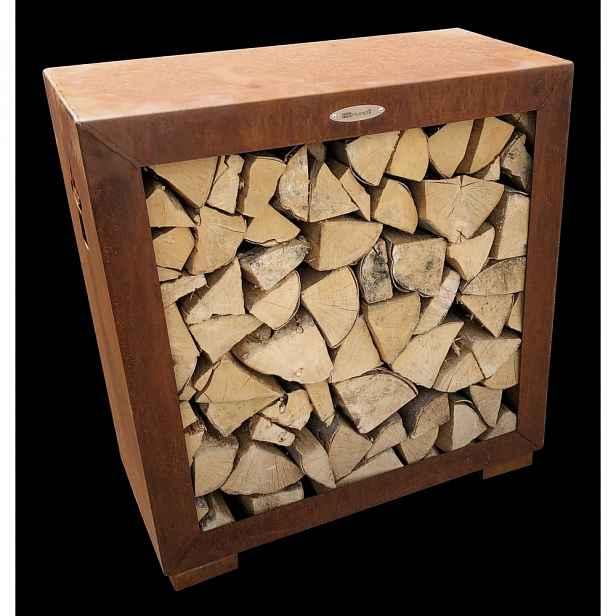 Hnědý ocelový dřevník Remundi,šířka79cm