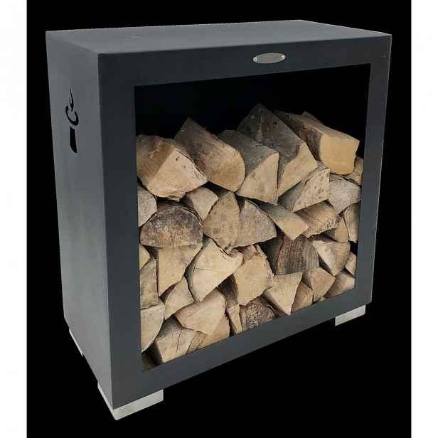 Černý ocelový dřevník Remundi,šířka79cm
