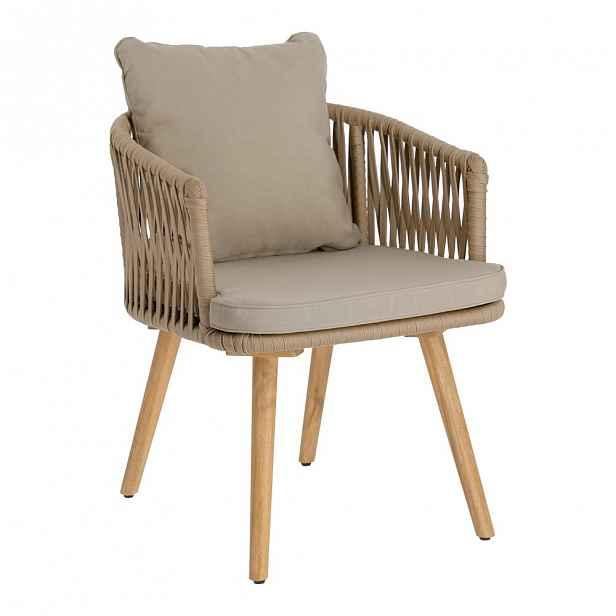 Zahradní židle z akáciového dřeva s béžovým polstrováním La Forma Hemilce