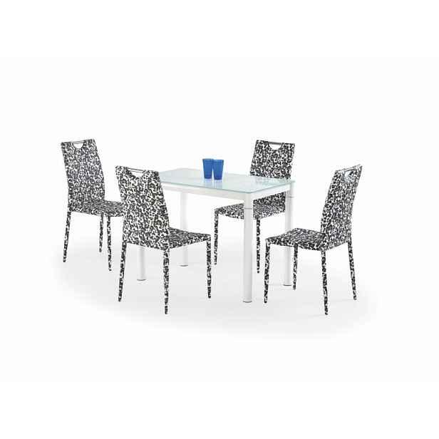 Skleněný jídelní stůl Army, mléčná / bílá HELCEL